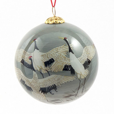 Hand-painted Glass Ornament - Cranes