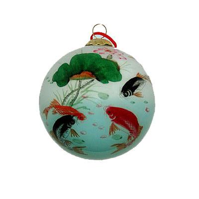 Hand-painted Glass Ornament - Koi Fish