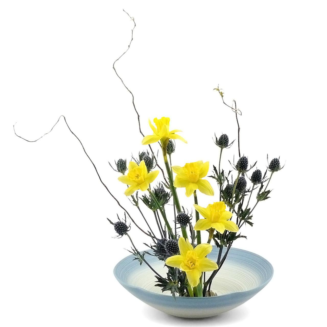 Morning Snow Ikebana Vase with flower arrangement