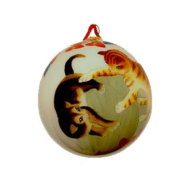 Hand-painted Glass Ornament - Cats at Play