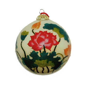 Hand-painted Glass Ornament - Lotus