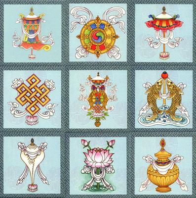 Auspicious Symbols Tile Set