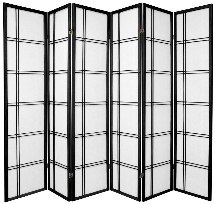 Lattice Shoji Screen 6-panel in Black