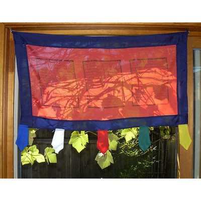 Doorway Flag - red with blue border