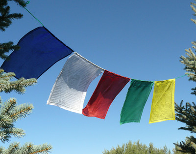Horizontal Prayer Flags in Five Colors