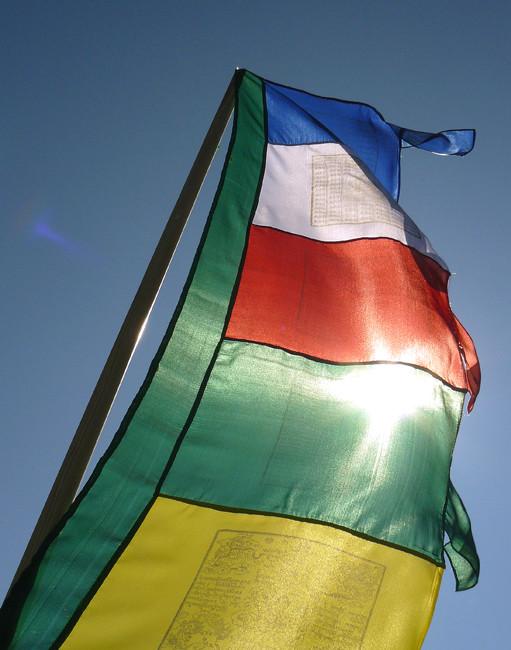 Vertical 5-color Prayer Flag close-up