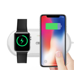 2 in 1 Wireless Charger, Klearlook Aluminium Dual Inductive Wireless Charging Stand Pad Mat Compatible iWatch