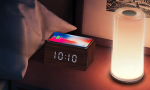 Multi-function Alarm Clock BenchMart Wireless Charger & Wooden LED Alarm Clock with Voice Control