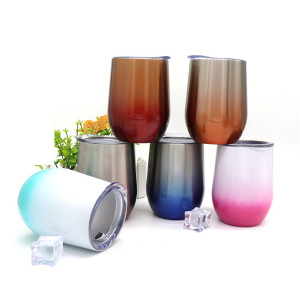 Gradient color Eggshell cup vacuum insulated stainless steel wine tea glass