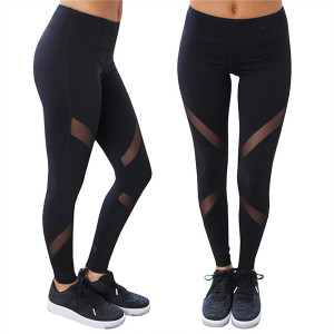Mesh stitching tight-fitting sports women riding yoga pants fitness leggings