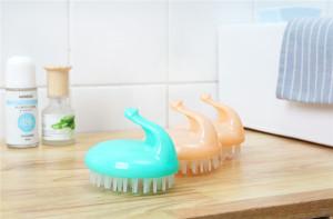 Custom Silicone Soft Scalp Round Child shampoo brush