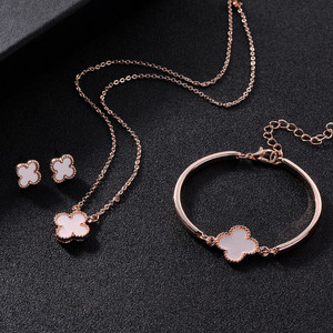 3pcs Lucky Four Leaves Clover Jewellery Set