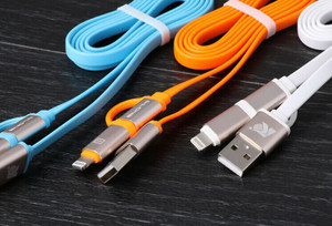 2 in 1 dual head USB charging Cable with cover for multi mobile phone