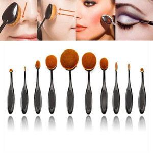 10Pcs/Set Pro Oval Foundation Powder Brushes