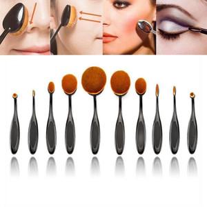 10Pcs/Set Pro Oval Foundation Powder Brushes