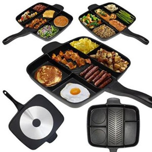 Non-Stick Divided Meal Skillet Grill Fry Oven Dishwasher Safe