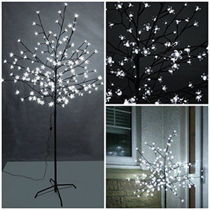 150cm 140LEDs Cherry Blossom Tree Light with Cool White Light and Black Branches, Perfect for Home Festival Party