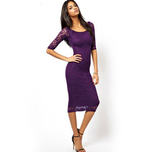 Elegant and extra soft  lace 3/4 sleeve midi dress