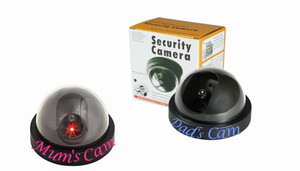 Dummy CCTV Security Cameras with Flashing LED Light with Mum and Dad sticker
