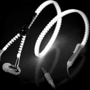 Glow Zipper Earphones with colour options