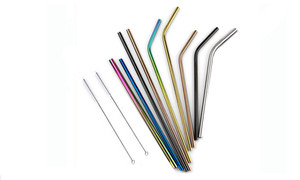 Stainless Steel Straws with Brush Pack of 8 - multiple color