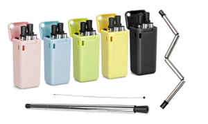 Foldable Stainless Steel Drinking Straw with Carrying Case