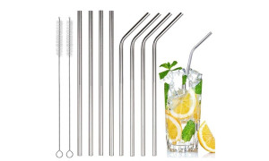 Silver Stainless Steel Drinking Straws, Bent or Straight, with Brush Pack of 8