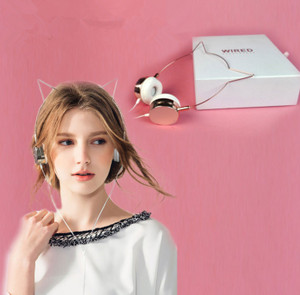 Cute Cat Rose Gold Headphones