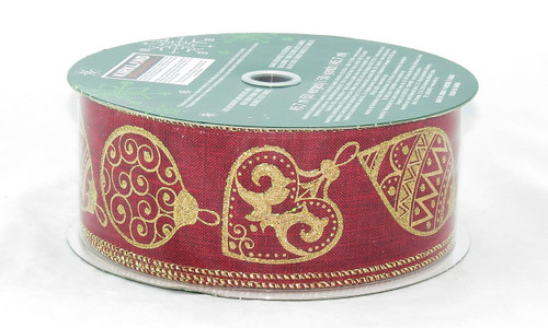 Shop for Holiday Wired Ribbon now! Gold sparkle ornaments on Red burlap wide wired ribbon 50 yards