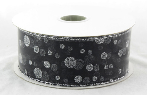 Shop now for Silver Sparkle Polka Dot on Sheer Black Wide Wired Ribbon 50 yards