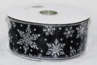 Buy Silver Sparkle Snowflake on Black Sheer Wide Wired Ribbon 50 yards