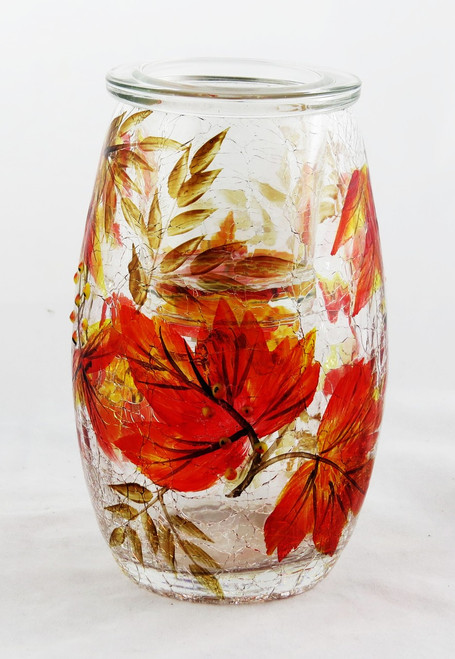 Shop now for Autumn Leaves Crackle Glass Tall Tealight Holder Yankee Candle Company