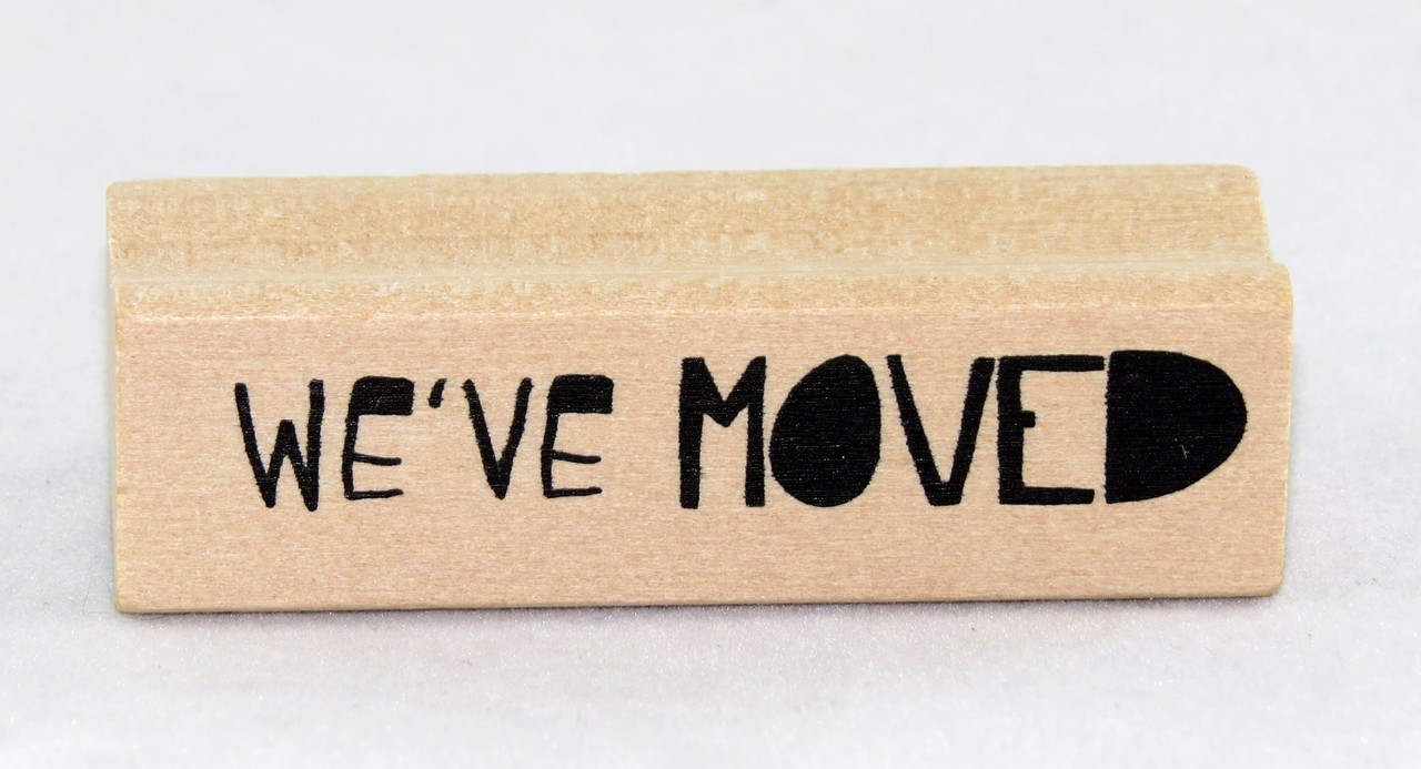 Shop Now For This Cute Weve Moved Wood Mounted Rubber Stamp Inkadinkado