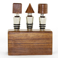 Shop here now for Geometric Wood Block Bottle Stopper Set