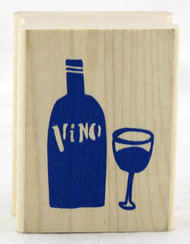 Shop here for Vino Wine Glass Bottle Craft Wood Mounted Stamp