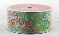 Shop now for Sparkly Red and Green Swirls on sheer White 2.5 inches Wide Wired Ribbon 50 yards
