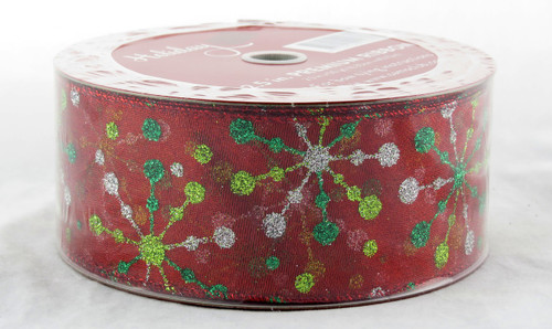 Shop now for Green Gold Silver Sparkle Starburst on Red Sheer 2.5 inches Wide Wired Ribbon 50 yards