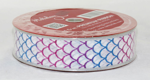 Shop now for this Bright Pink Purple Blue Green Scalloped on White 1.5 inches Wide Wired Ribbon 50 yards