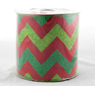 Shop now for Green Sparkle Chevron on Solid Red Extra Wide 5 inches Wired Ribbon 25 yards
