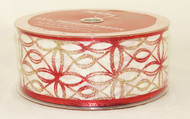 Click to buy this Red Gold Sparkle Ovioid on White 2.5 inches Wide Wired Ribbon 50 yards