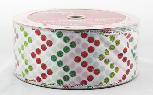 Shop now for Chevron Patterned Red Green Sparkle Polka Dot on White 2.5 inches Wide Wired Ribbon 50 yards