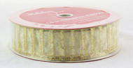 Shop now for Silver and Gold Sparkle Stripe on Sheer Champagne Gold 1.5 inches Wide Wired RIbbon 50 yards