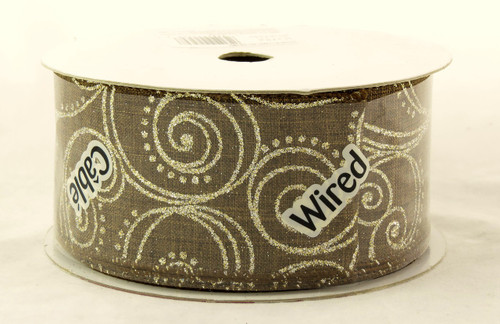Shop here now for Gold Sparkle Comet Swirl on Brown Burlap Wide Wired Ribbon 25 yards