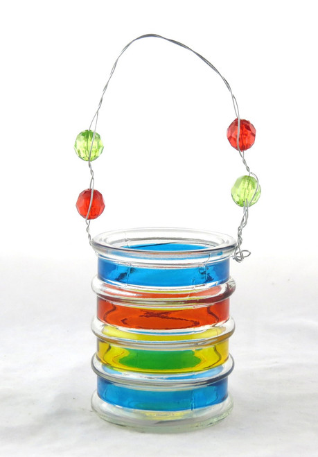 Click here to buy Small Striped Glass Hanging Tea Light Candle Holder