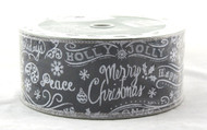 Click here to buy Holiday Greetings on Solid Black Wide Wired Ribbon 50 yards