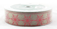 Click here to buy Red Sparkle Snowflake on Natural Burlap Wired Ribbon 50 yard