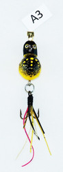 Click here to buy Handmade Fly Fishing Lures Yellow Black Triple Hook