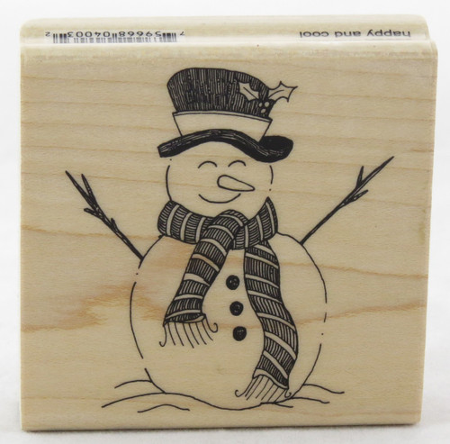 shop now for Happy and Cool Snowman Wood Mounted Rubber Stamp