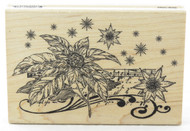 Shop now for this Beautiful Poinsettia Floral Notes Wood Mounted Rubber Stamp