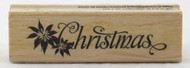 Shop now for this Poinsettia and Christmas Script Wood Mounted Rubber Stamp